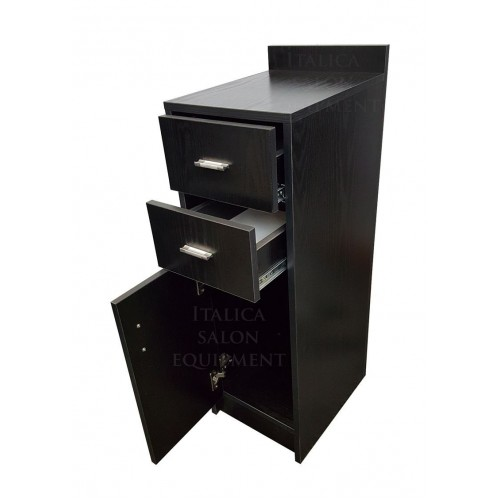 """Italica CS65-16"""" Wide Side Storage Cabinet  For Hair Salons Or Combo Unit Add On Piece Free Standing In Black"""