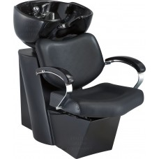 8021 Black Shampoo Unit With Tilting Bowl and Sliding Chair