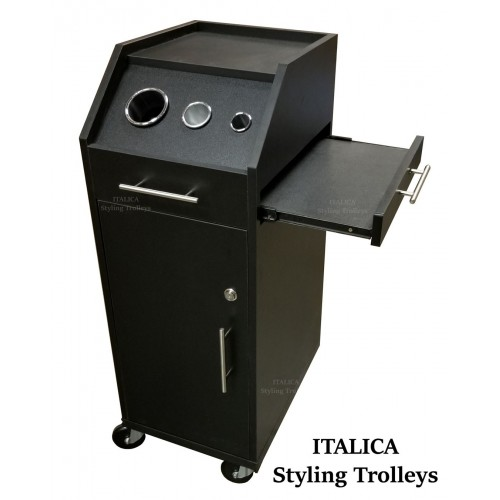Italica 900 Rolling Beauty Trolley Tool Panel Locking Black In Stock