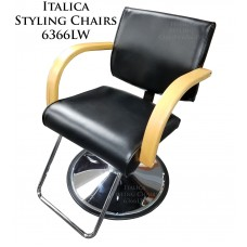 Italica 6366LW Katy Styling Chair Light Natural Wood Arms Your Choice Styling Chair Base
