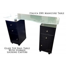 GREAT PRICE! Glass Top 2301 Manicure Table Black Cabinets In Stock Ships Fast