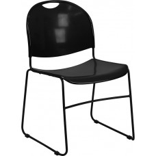 Italica Black Compact Stacking Classroom or Waiting Room Chair