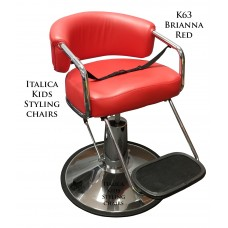 K63 Red Brianna Kids Hair Styling Chair With Thick Cushions & Extended Height Base