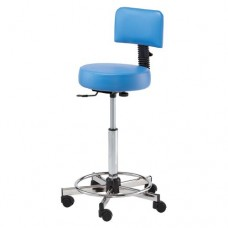 731 Round Seat Hair Cutting Stool With Back & Footrest 23 to 33 Inch Lift By Pibbs