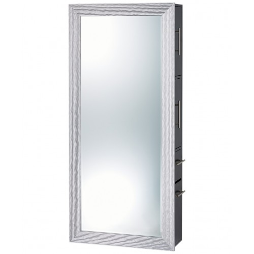 PIbbs 7719-SER02 Wave Styling Station Silver Mirror Wall Unit