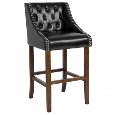 """Italica 2020 30"""" High Transitional Tufted Walnut Make Up stool with Accent Nail Trim in Black LeatherSoft FREE SHIPPING"""