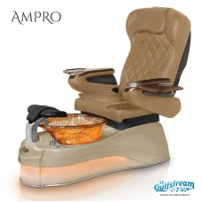 AMPRO LED Lighted Pipeless Glass Bowl Pedicure Spa With Magnetic Jet