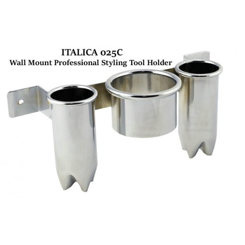 Italica 025 Chrome Wall or Cabinet Mount Hair Dryer & 2 Flat Iron Holders Italica