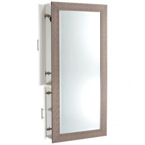 Pibbs 6619-SER Diamond Hair Salon Mirror 5 Colors With Wall Cabinet In Black or White