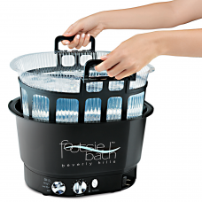 Footsie Pedicure Bath With Pull Out Tray & 10 Liners- Retractable Plug, Heat and Massager Control- Starter Package