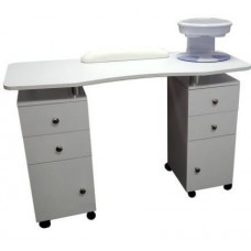 6002 Snow White Manicure Table With White Arm Pad By Italica