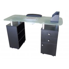 939 Fast To Ship Glass Top Manicure Table With Vent Made By Italica
