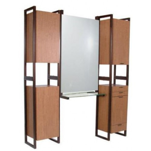 Collins 968-66 Enova Tower Styling Island Back to Back Station With Storage & Steel Sides Free Standing