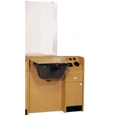 "BEL-Custom Line 34"" Wide Wet Booth Styling Station Vanity & Bulkhead"