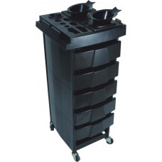 T001 Metal Frame Hair Colorist & Beauty Trolley Black