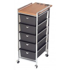 Pibbs D29 Italian Beauty Cart 5 Deep Drawers & Laminated Wood Topper With Tool Holders