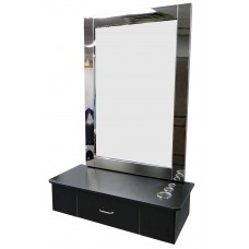 Italica 8804 Black Wall Mounted Hair Styling Station With Stainless Steel Frame Mirror