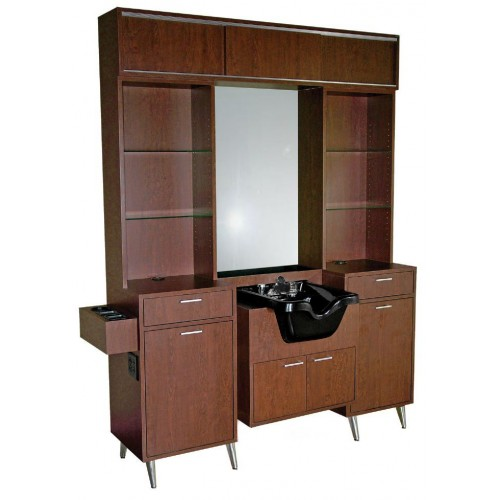 Collins 5575-72 Brentwood Barber Wet Booth Station With Top Storage