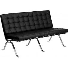 Free Shipping 3 Person Sofa Reception Love Seat Black