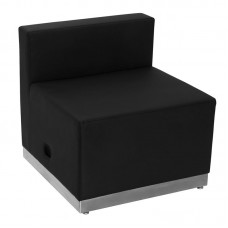 Free Shipping 803 Wedge Reception Single Sofa Black With Silver Toe Kick Base