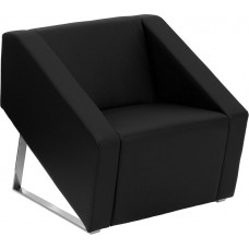 Free Shipping 0869 Smart Black Leather Reception Chair