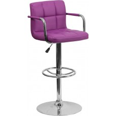 "2712 Purple Quilted Vinyl Adjustable Height Make Up Stool 36.75""H - 45.25''H  FREE SHIPPING"