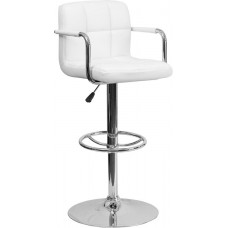 "2714 White Quilted Vinyl Adjustable Height Make Up Stool 36.75""H - 45.25''H  FREE SHIPPING"