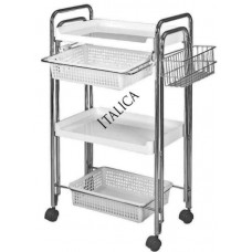 8059 Metal Treatment Trolley With Thick Hard Plastic Shelves And Lots of Features From Italica