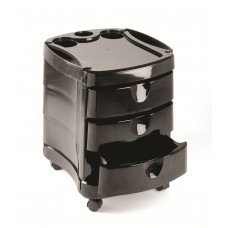 2045 Black Zorro Pedicure Trolley Cart With 3 Drawers And Bottle Holders