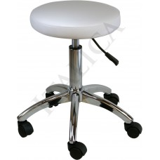 Italica ST003 White Round Seat Skin Care Stool With Chrome Steel Base