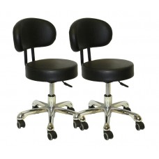 FREE SHIP -2 PACK PL212 Black Pedicure Stools With Backrest Italica