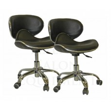 Free Ship 2 Pack-PL206 Ergonomic Black Pedicure Stool From Italica