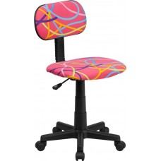 OLY Free Ship Pink Art Deco Padded Vinyl Task Chair With Arms or Not From Italica