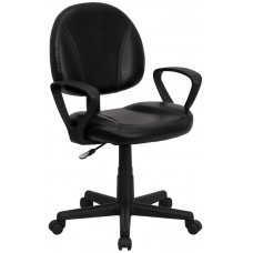 688A Free Ship Black Leather Task Chair For Manicures or Reception Desks Plus Armrests In Stock From Italica