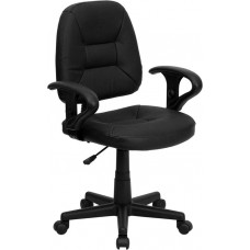BT682 Free Ship Black Leather Task Chair With Adjustable Arm Rests for Manicures or Reception Desks