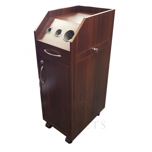 Italica TR010DW Portable Hair Styling Cabinet Dark Wood Locking Doors Tool Panel Fast Shipping In Stock