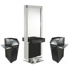 Italica M826 Island Station Combo Stainless Double Sided Mirror With Drawers and Portable Styling Stations In Stock