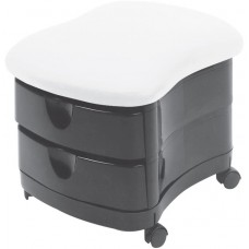 Pibbs 2030 Zorro Black Pedicure Stool With 2 Drawers USA Made in Many Colors