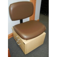 Showroom Model Collins 2510 Wallaby Brown Pedicure Stool With 2 Drawer Rolling Maple Laminated Base New