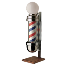William Marvy 410 OS Model Two Light Marvy Revolving Barber Pole On Stand With Globe Top