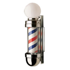 William Marvy 410WM Model Two Light Revolving Barber Pole Wall Mount Globe Top Smallest Model