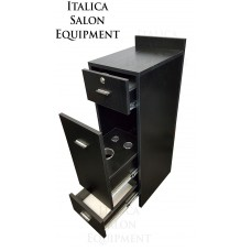 "Italica CS67-2 12"" Wide Hair Salon Cabinet Tool Drawer Locking Dark Chocolate"