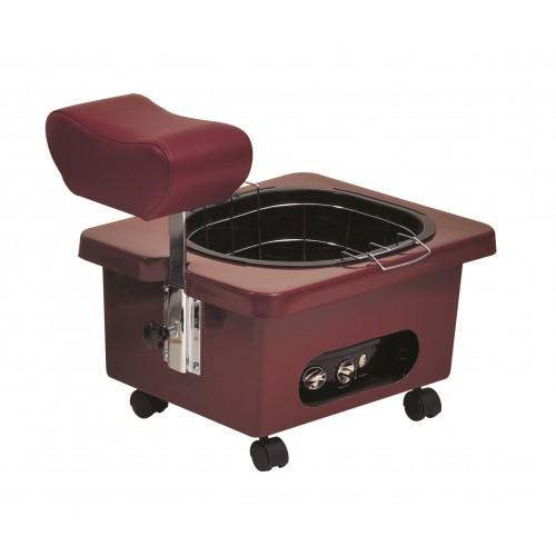 Pibbs DG105R Red Burgundy Mobile Fiberglass Pedi Cart Portable Footsie Bath Pedicure Unit