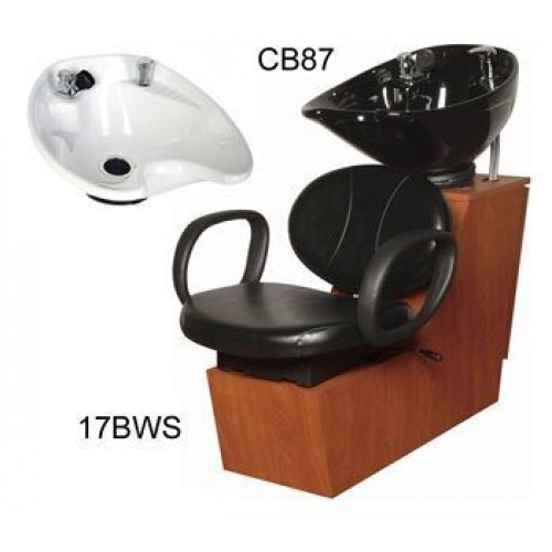 Collins 17BWS Berra Shuttle Side or Backwash Sliding Chair Tilting Porcelain Shampoo Bowl