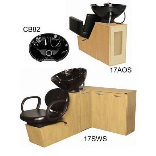 Collins 17SWS Berra Shuttle Sidewash Sliding Chair Tilting Shampoo Bowl Plus Storage Cabinets
