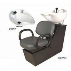 Kiva 16BWS Shuttle Backwash Sliding Chair Tilting Porcelain Shampoo Bowl From Collins