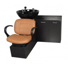 Kelsey 12SWS Shuttle Sidewash From Collins With Sliding Chair Tilting Shampoo Bowl Plus Storage Cabinets and Your Choice Colors