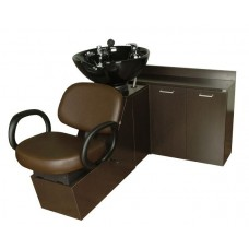 Kiva 16SWS Shuttle Sidewash Sliding Chair Tilting Shampoo Bowl Plus Storage Cabinets From Collins