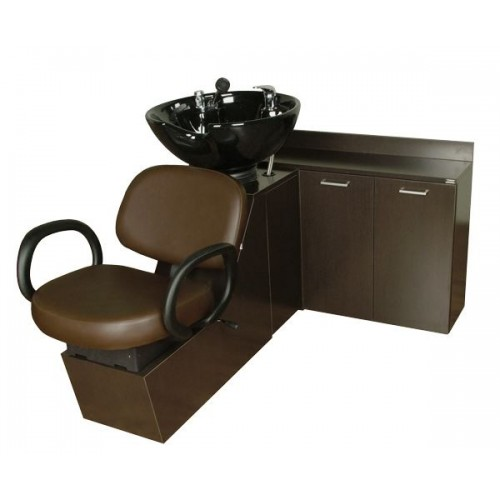 Collins 16SWS Kiva Shuttle Sidewash Sliding Chair Tilting Shampoo Bowl Plus Storage Cabinets