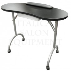 078B Portable Black Nail Table With Free Pad and Carrying Bag From Italica